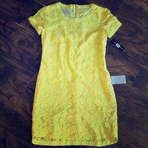 Donna Morgan Lace Overlay Mini Dress